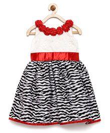 Winakki Kids Semi Zebra Print Flare Dress - Black