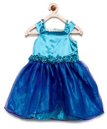 Winakki Kids Overlap Flare Dress With Flower Applique - Blue