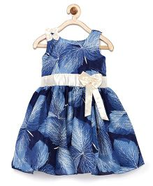 Winakki Kids Leaf Printed Bow Applique Dress - Blue