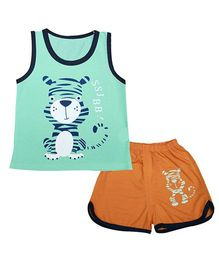 Kiwi Sleeveless Vest And Shorts Set Tiger Print - Green Orange