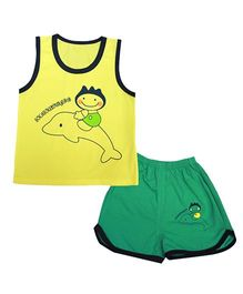 Kiwi Sleeveless Vest And Shorts Set Dolphin Print - Yellow Green
