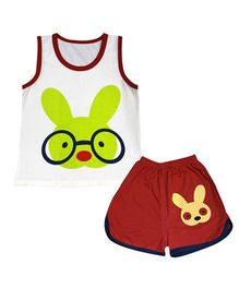 Kiwi Sleeveless Vest And Shorts Set Bunny Print - White Red