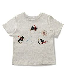 The Lion And The Fish Swimming Penguin Printed Tee - Melange