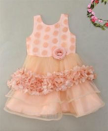 Blue Leaf Flowery Flared Dress - Peach Glow