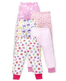 Kidi Wav Elephant Printed Pajamas Pack Of 5 - Pink