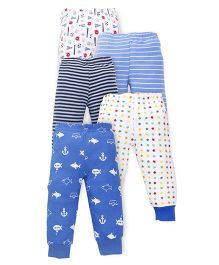 Kidi Wav Car Printed Pajamas Pack Of 5 - Blue
