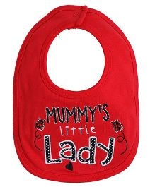 Needybee Little Lady Embroidered Baby Feeding Bib - Red