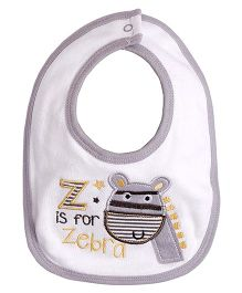 Needybee Zebra Embroidered Baby Feeding Bib - Grey