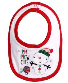 Needybee Snow Cute Embroidered Baby Feeding Bib - Red