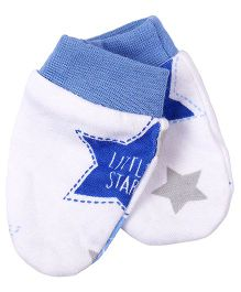 Needybee Double Star Printed Baby Mittens - Blue