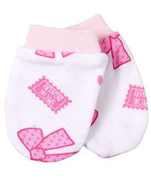 Needybee Mini Bows Printed Baby Mittens - Pink