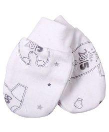 Needybee Romper Printed Baby Mittens - White