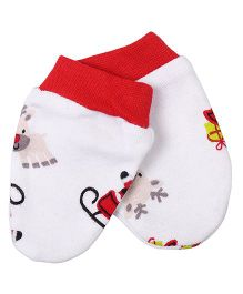 Needybee Reindeer & Santa Clause Printed Baby Mittens - Red
