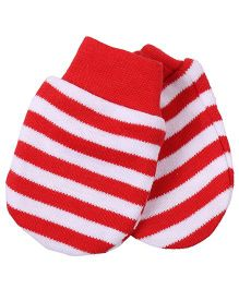 Needybee Horizontal Stripe Baby Mittens - Red