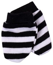 Needybee Horizontal Stripe Baby Mittens - Black