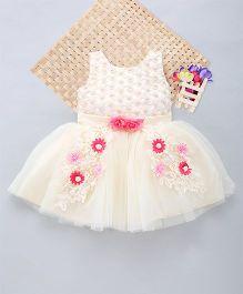 Eiora Pearl Embellishment & Flower Patch Work Dress - Cream