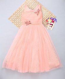 Eiora Balloon Sleeveless Dress With Flower Patch Work - Dark Peach