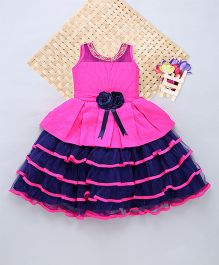 Eiora Layered Dress With Bow - Blue & Pink