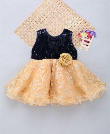 Eiora Sequence & Self Work Dress - Blue & Gold