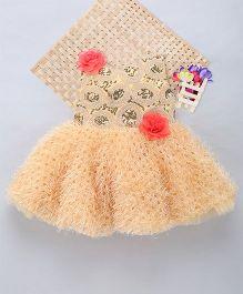 Eiora Cut Work Dress With Flower Patch Work - Gold