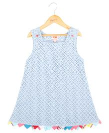 Hugsntugs Schiffli Dress With Bunting At The Bottom - Blue