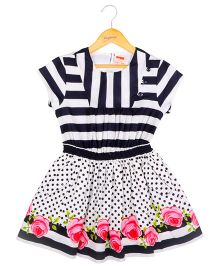 Hugsntugs Dress With Rose Print At The Bottom - Black & White