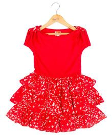 Hugsntugs Dress With Small Butterfly Print At The Bottom Frills - Red
