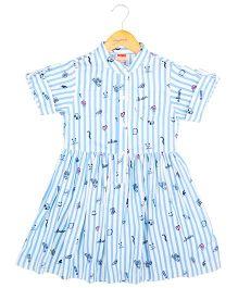 Hugsntugs Stripe Fun Print Dress - Blue & White
