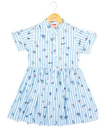 Hugsntugs Stripe Fun Print Dress - Blue & White