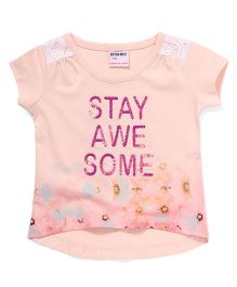 Button Noses Short Sleeves Tee Printed - Peach