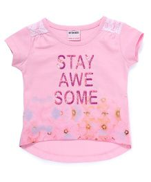 Button Noses Short Sleeves Tee Printed - Pink
