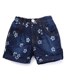 Button Noses Shorts Flower Print - Navy Blue