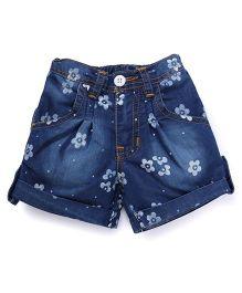 Button Noses Shorts Flower Print - Blue