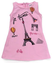 Button Noses Sleeveless Tee Printed - Pink