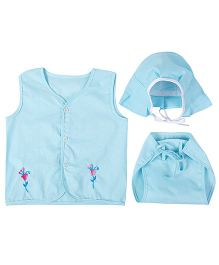 Needybee Set Of Flower Embroidered Front Open Jhabla Vest Nappy & Cap - Blue