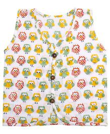 Needybee Owl Printed Buttoned Down Jhabla - Multicolor