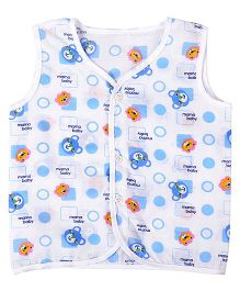 Needybee Bunny Printed Buttoned Down Jhabla - Blue
