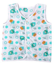 Needybee Bunny Printed Buttoned Down Jhabla - Green