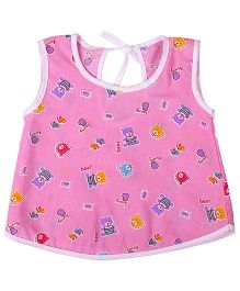 Needybee Honey Bear Printed Buttoned Down Jhabla - Pink
