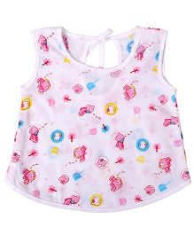 Needybee Bear Printed Buttoned Down Jhabla - Pink