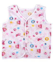 Needybee Bear Printed Buttoned Jhabla - Pink