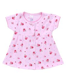 Pink Rabbit Half Sleeves Floral Print Front Button Frock - Pink