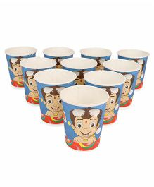 Chhota Bheem Paper Glasses Pack Of 10 - Blue