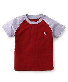 Babyhug Half Sleeves T-Shirt - Maroon Grey