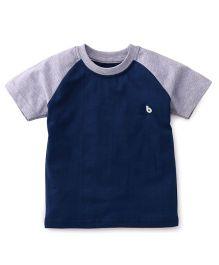 Babyhug Half Sleeves T-Shirt - Navy Blue Grey
