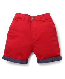 Palm Tree Solid Color Shorts - Red