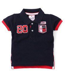 Gini & Jony Half Sleeves T-Shirt Numeric 80 Embroidery - Navy Blue