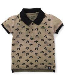 Gini & Jony Half Sleeves T-Shirt Binocular Print - Olive Green