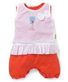 GJ Baby Sleeveless Romper With Top Bow Applique - Orange White