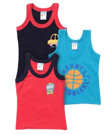 Tango Sleeveless Vests Pack of 3 - Navy Sky Blue Red